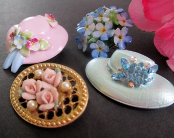 Pins / Brooches * Sunbonnet * Flowers * Fashion Hat * Pink Roses * Lot of Four Pins