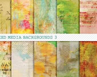 Mixed Up 3 Digital Papers for Art Journaling, Mixed Media & Digital Scrapbooking