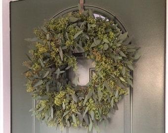 """Seeded Eucalyptus Wreath - 20"""""""
