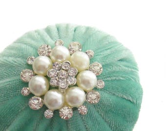 """2"""" Mint Green Velvet Pincushion Filled With Abrasive Emery Mineral To Keep Your Needles Clean & Sharp"""