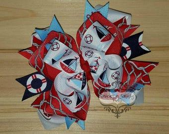 FERMETURE de magasin, voilier, nautique, rouge, blanc, bleu, arc de cheveux
