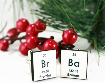Breaking Bad Inspired Cufflinks Science Bromine Barium Periodic Table Elements Mens Accessories Gift Idea