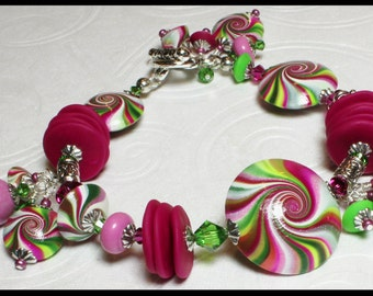 Hibiscus... Handmade Jewelry Bracelet Beaded Hot Pink Fuchsia Lime Green White Polymer Clay Beads Swirl Spiral Silver Crystal Lightweight