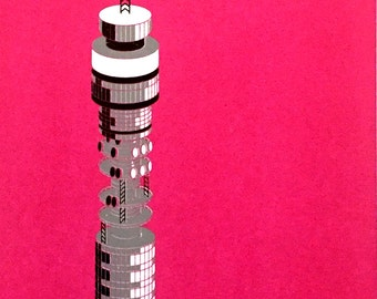 London BT Tower handpulled screen print (magenta)