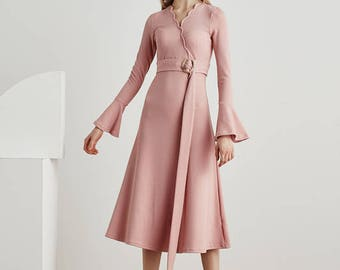 Casual long sleeve dress/volant Dress