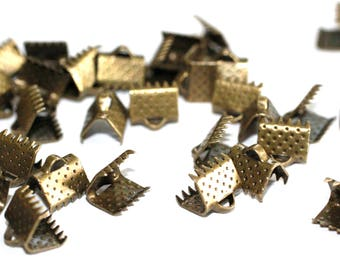 50pc Bronze Ribbon End Clamps-Bracelets supplies-8x8x5mm