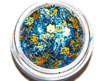 Blue, Silver and Yellow Glitter Mix, Solvent Resistant, Glitter Mix, Raw Nail Glitter Mix, Nail Polish Glitter, Nail Art, Glitter for Slime
