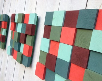 IN STOCK 3 Wooden Wall Mosaics