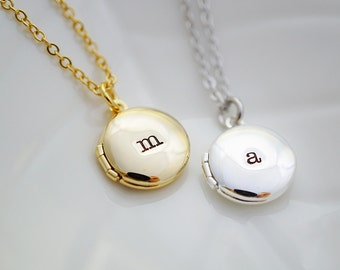 Personalized Locket Necklace Initial Necklace mini Locket necklace Bridesmaid Gifts Christmas gift for her keepsake jewelry, mom, daughter