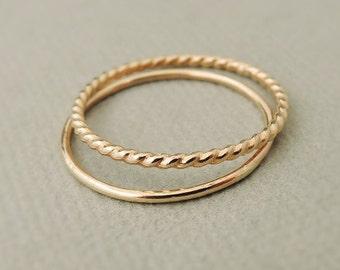 Thin Gold Ring - gold filled rings - gold twist ring - smooth gold ring - Stacking Rings - midi ring - thumb ring