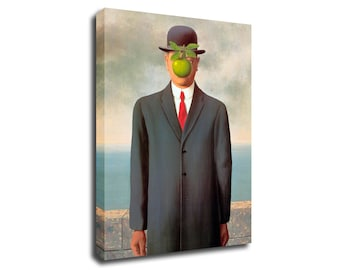 Rene Magritte The son of man Apple Art Print Poster Canvas/Glossy HD Canvas, Gallery Wrap Or Glossy Poster