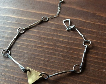 Triangle Bracelet - Sterling Silver and Brass - Handmade chain