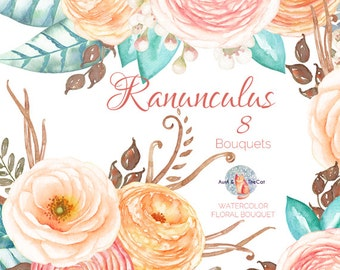Watercolor Ranunculus Bouquet Flowers Hand Painted, Floral, Wax flower, Wedding Invitation, Greeting Card, DIY Clip Art