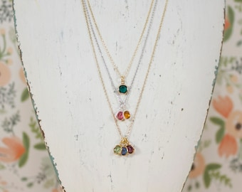 Birthstone Necklace | Swarovski Jewelry | Grandma | Mommy Necklace | Gift for Her | Family Tree Necklace | Generational | Mothers Day Gift