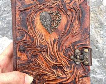 Valentine's Gift, Leather Journal, Leather Notebook, Steampunk Journal, Travel Journal, School Journal, Heart Journal, Gift Idea