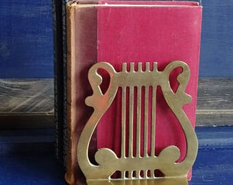Brass Harp Bookend Single Bookend