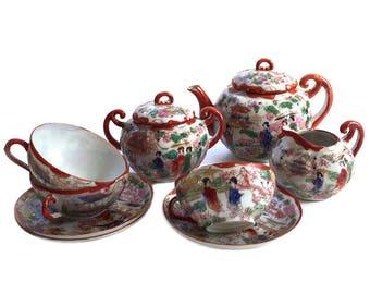 Vintage, Japanese Geisha Ware, Porcelain Tea Set, Teapot Creamer Sugar 3 Cups 3 Saucers JAPAN Handpainted