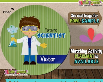 Future Scientist Plate and Bowl Set - Personalized Plastic Children Plate Cereal Bowl - CHOOSE HAIR SKIN color - Career Plate and Bowl Set