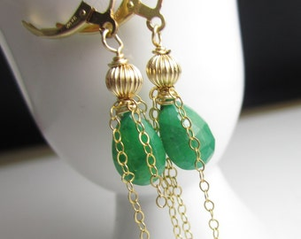 Emerald and Gold Fill Dangle Earrings