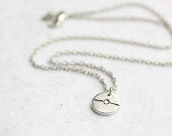 Stamped Pokeball Necklace