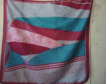 Vintage 1980s polyester scarf abstract pinks and teal 30 x 31 inches