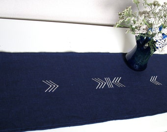 Natural 100% Linen Table Runner Latvian Sign Embroidery Dark Blue Eco Organic Linen Table Runner Pure Linen Table Cloth Small Tablecloth