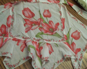 Vintage Half Apron, Handkerchief Apron, Apron Made from Vintage Hankies, Pink Tulips, Ruffled, Flounce,  Circa 1960s, Mother's Day Gift
