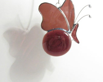 Stained Glass Butterfly Aubergine - Decorative Mobile - Purple, Window Ornament, Abstract, Suncatcher, Home Garden Decor, Gift, Cute