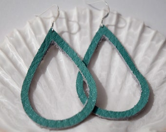 Teal Leather Teardrop Earrings | Teal Earrings | Leather Earrings
