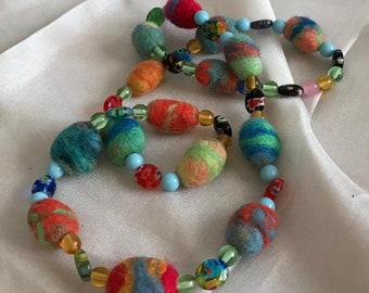 Felted Necklace - jewel tones