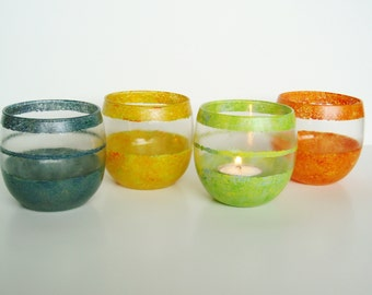 Hand Painted Candle Holders in Blue, Orange and Yellow set of 3