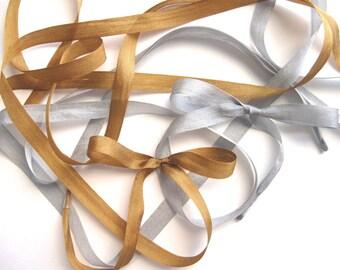 "THE SHOELACES SHOP-Silk Ribbon Shoelaces, Silk Shoelaces, Gold Shoelaces, Silver Shoelaces, Shoestrings, Gray Shoe Laces, ""Silky Way"""