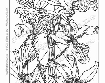"""Orchids on Glass """"Intricate Detail Shaded Orchids"""" Adult coloring page printable download from Artwork Anywhere ~hand drawn orchid flowers~"""