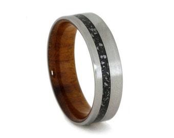Black Stardust Ring, Titanium Wedding Band With Ironwood Sleeve, Meteorite Jewelry
