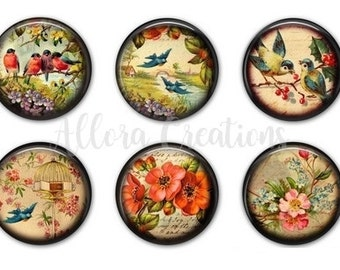 Vintage Birds and Flowers, Fridge Magnets, Magnet Set, M014