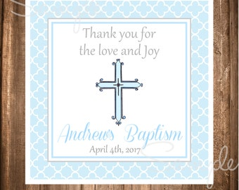 Baptism Favor Tags,Personalized Printable Baptism Tag, First Communion, Christening Stickers
