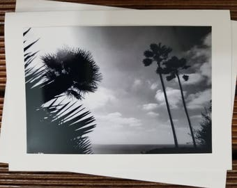 Beach scene greeting card, blank card, ocean photography, black and white