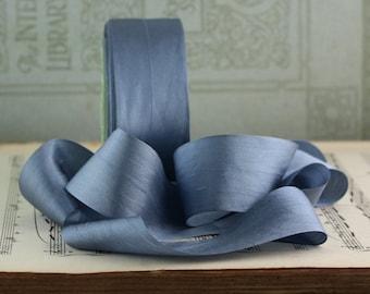 "Dusty Blue Silk Ribbon, Pantone Serenity Blue, 1.25"" wide by the yard, Slate Blue Silk, Blue Gray Silk, Hand Dyed Silk"