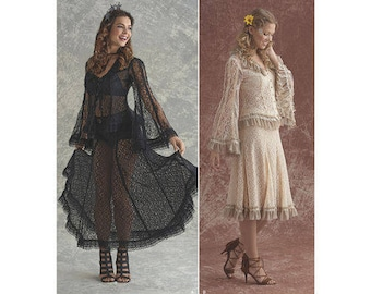 Simplicity Pattern 8362 Misses' Lace Blouse and Skirt In Two Styles Size 6-14