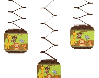 Set of 6 Safari Jungle Hanging Decorations - Baby Shower and Birthday Party Supplies