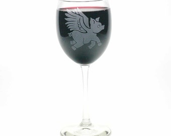 Flying Pig Wine Glass - when pigs fly