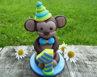 Babies 1st birthday boy, 1st cake topper, Birthday cake topper, Babies birthday party, Personalized cake topper, 1st birthday monkey party