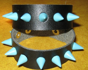 Leather Wristbands With Blue Studs