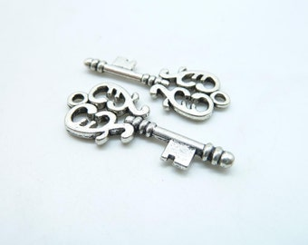 15pcs 14x32mm Antique Silver key Charm Pendant  c6699
