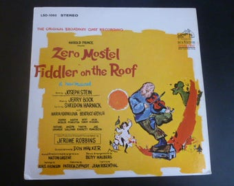Vintage Fiddler On The Roof Zero Mostel Original Broadway Cast Recording Record LP LSO-1093 RCA Records 1964