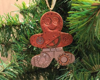 Industrial Style Christmas Ornament -  Steampunk Gingerbread Man Holiday Decor style 13
