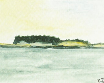 Maine Art Watercolor Painting Seascape Pen & Ink ACEO Gift Set Fisherman's Island Pemaquid Point Artist Trading Card Artist Kathleen Daughan