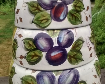 Set of 3 BLACK FOREST FRUITS Mixing Bowls Heritage Mint