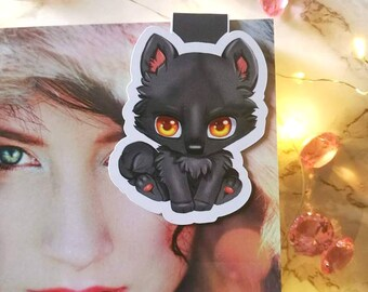 "Magnet Bookmark ""Chibi Wolf Vaan"" (Divinitas)-Magnetic bookmark-Magnetic Bookmarks-kawaii cute cute"