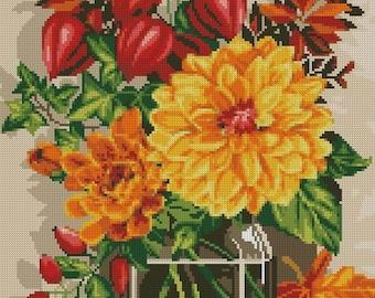 Autumn still-life. Scheme for cross stitch. Author's scheme. Flowers. Gifts of autumn. Picture. Gift